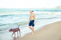 Young Man With Dog American Pit Bull Terrier Walking On The Tropical Beach Stock Images - 98685894