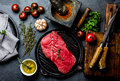 Fresh Raw Meat Steak Beef Tenderloin, Herbs And Spices Around Cutting Board. Food Cooking Background With Copy Space Royalty Free Stock Photo - 98686285
