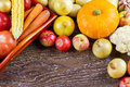 Autumn Vegetables Thanksgiving Harvest, Raw Healthy Organic Food On Wooden Background Stock Image - 98689401