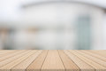 Empty Wood Table Top On White Blurred Background From Building Royalty Free Stock Photo - 98707345