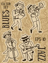 Cute Doodle Musicians In 1920`s Style Stock Photo - 98712750