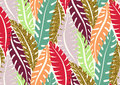 Seamless Pattern With Trendy Tropical Summer Motifs, Exotic Leaves And Plants. Royalty Free Stock Image - 98731916