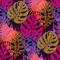 Seamless Pattern With Trendy Tropical Summer Motifs, Exotic Leaves And Plants. Stock Photo - 98734460