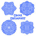 Set Of Blue Design Elements With Greek Motifs Isolated On White Background Stock Image - 98739261