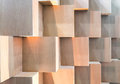 Wooden Cube Boxes Creating Abstract Geometric Wall Royalty Free Stock Image - 98755586