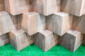 Wooden Cube Boxes Creating Abstract Geometric Wall Royalty Free Stock Photo - 98755595