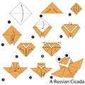 Step By Step Instructions How To Make Origami A Russian Cicada Royalty Free Stock Photo - 98758225