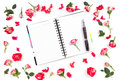 Open Paper Notebook, Pen And Rose On White Background. Flat Lay, Top View Royalty Free Stock Photo - 98767385