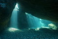 Below Rocks Underwater Sunbeam Mediterranean Sea Stock Images - 98770604