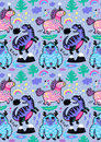 Adorable Wallpaper In The Childish Style With Unicorn, Yeti, Dino Stock Photography - 98771562
