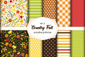 Set Of 12 Cute Seamless Country Fall Patterns With Primitive Flowers, Polka Dots, Stripes, Chevron And Plaid Stock Photos - 98773753