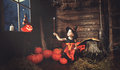 Halloween.  Little Witch   Conjures With  Book Of Spells,  Magic Royalty Free Stock Image - 98791746