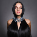 Beautiful Young Woman In Steel Chain Stock Images - 98792024