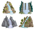 Waterfalls Set. Cartoon Landscapes With Mountains And Trees. Royalty Free Stock Photos - 98793718