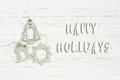 Happy Holidays Text Sign On Christmas Simple Vintage Toys On Sty Stock Photography - 98805962