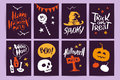 Vector Collection Of Cartoon Halloween Celebration Cards And Flayers With Lettering And Cute Funny Animals. Stock Image - 98815741