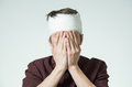 Man With Bandage On His Head Stock Photo - 98849510