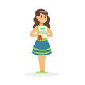 Happy Girl Holding Her Excellent Report Card Cartoon Vector Illustration Stock Images - 98850624