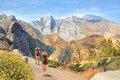 Girls On Hiking Trip In High Mountains. Stock Photo - 98860270