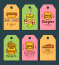 Vector Fast Food Tags. Burgers, Hot Dogs, Fry Potato,pizza Etc. Illustrations. Hand Drawn Quick Meals Labels Collection. Stock Image - 98861781