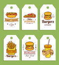 Vector Fast Food Tags. Burgers, Hot Dogs, Fry Potato,pizza Etc. Illustrations. Hand Drawn Quick Meals Labels Collection. Stock Photography - 98861842