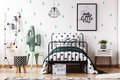 Kids Bedroom With Cute Wallpaper Royalty Free Stock Photography - 98865777