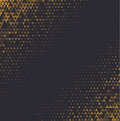 Vector Halftone Abstract Background, Black Gold Gradient Gradation. Geometric Mosaic Triangle Shapes Monochrome Pattern Stock Images - 98885194