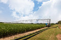 Crop Irrigation Using The Center Pivot Sprinkler System Stock Photo - 98887510