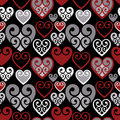 Hearts Pattern_Black Background Stock Image - 9895561