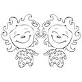 Cartoon Funny Babes Twins For Coloring Book Isolated On White Background, Vector Black And White Hand Drawing, Monochrome Royalty Free Stock Images - 98919719