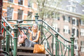 Woman Smoking In Amsterdam City Royalty Free Stock Images - 98927389