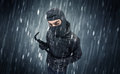 Caught Burglar By House Camera In Action. Royalty Free Stock Photography - 98945517