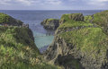 Carrick-a-Rede Rope Bridge A Famous Rope Bridge Near Ballintoy In County Antrim In Northern Ireland Stock Image - 98957071