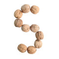 The Group Of Walnuts On White Background, Making Letter S. Studio Shot Royalty Free Stock Images - 98957249