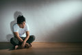 Young Autism Patient Man Sitting On Wooden Floor Royalty Free Stock Photo - 98968045