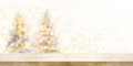Wooden Table Top With Blur Christmas Tree Background In Snowfall Stock Photos - 98969623
