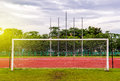 Football Goal With,red Running Track In Stadium,running Track Stock Image - 98971931