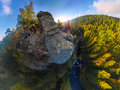 Backpacker On Top Of A Rock Fall At Dawn. Wide Angle Aerial Panorama Royalty Free Stock Image - 98985906