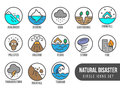Natural Disaster Basic Circle Icon Set With Tide Volcano Erupting Earthquake Flood Isolated Vector Design Royalty Free Stock Photography - 98994567