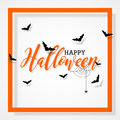 Happy Halloween Vector Illustration With Bats  And Spider On Black Background. Holiday Design For Greting Card, Poster Or Party In Royalty Free Stock Photo - 98998925
