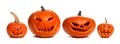 Unlit Halloween Jack O Lanterns Individually Isolated On White Royalty Free Stock Photos - 99013798