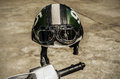 Motorcycle On The Road With A Helmet On The Handlebars. Royalty Free Stock Image - 99026416