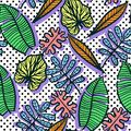 Seamless  Colorful Tropical Pattern Of Exotic Leaves Royalty Free Stock Photos - 99027778