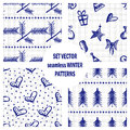 Set Of Seamless Vector Patterns With Cute Hand Drawn Fir Trees, Gifts, Hearts, Bows, Christmas Toys. Seasonal Winter Backgrounds G Royalty Free Stock Photos - 99034338
