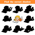 Find The Correct Shadow, Young Girl Reading A Book Stock Photo - 99059230