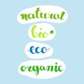 Inscriptions - Natural, Bio, Eco, Organic. Farm Fresh And Natural Products Or Foods Labels. Stock Photo - 99072450