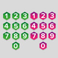 Number Set Hexagon Button Stock Photo - 99078250