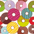 Seamless Pattern Sweet Donuts Set With Icing And Sprinkls Isolated, Pastel Colors On White Background. Vector Royalty Free Stock Photo - 99091485