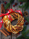 Cinnamon Cocoa Brown Sugar Wreath Buns. Sweet Homemade Christmas Baking. Roll Bread, Spices, Decoration On Wooden Background. New Stock Photo - 99092250
