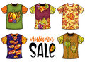Set Of Templates T-shirts For Men And Woman With Autumn Design. Royalty Free Stock Photos - 99104428